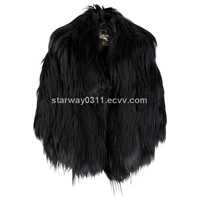Women's Goat skin Coats Goat Fur Coats Jackets Black Europe Orders Z26