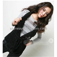 Women's Lambskin Vest Lamb Fur Vest Fur Coats Jacket Europe Orders Z53 Black