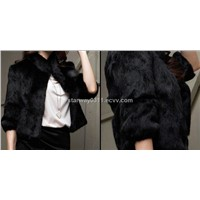 Women's Rabbit Fur Coats Fox Jacket Japanese & Korean style Z22 Black