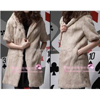 Women's Rabbit Fur Vest Coats Fur Jacket With Cap Apricot Japan&South Korea Orders 1Z