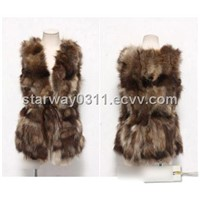 Women's Raccoon Fur Vest Raccoon Fur Coats Jacket Japanese & Korean style Z11