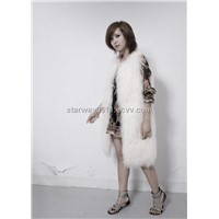 Women's Sheepskin Fur Vest Sheep Fur Coats Fox Fur Japanese & Korean style Z48 White