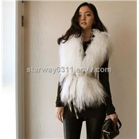 Women's Sheepskin Sheep Fur Vests Fur Coats Fur Jacket Europe Orders White Black 52Z