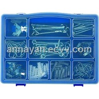 "144pcs picture hanger,spring window hooks,""L""hooks,screw hooks,flat head nails,anchors"