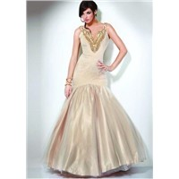 2011 New Style Cream V neck Cheap Mermaid Customer-Made Design Prom Dress