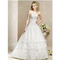 2011 Wholesale Cheap Customer-Made New Design Silver Sweetheart Embroidery Wedding Dress