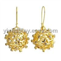 Ball shape crystal earrings gold plated