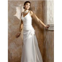Cheap Customer-Made Design V-neck Applique Pleated Wedding dress