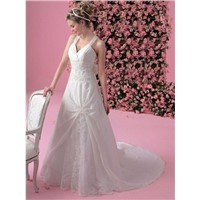 Cheap Customer-Made V-neck Crossed Straps Taffeta wedding dress