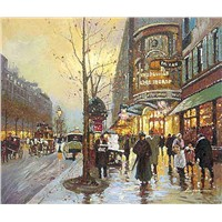 Pairs street scene reproduction painting