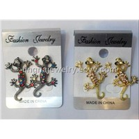 Small Gecko Crystal Earring