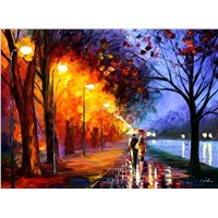 romantic lovers street scene oil painting
