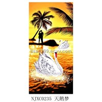 100% cotton velour reactive printed beach towel(NJXC0235)