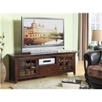 2 Glass Doors with Oak Veneer in Espresso Effect TV Stand