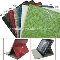 Folding Design Bright-colored Crocodile skin Leather Case With Stand Function for iPad 2