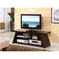 Oak Veneer with Black Glass in Espresso Effect TV Stand