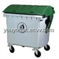 Outdoor Plastic Garbage Bin/Container 1200L With Four Wheels