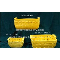 Yellow Glazed Retangle Porcelain Basket