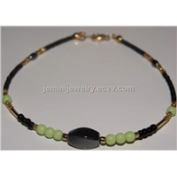 Black, Gold, & Green Anklet