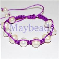 2011 Fashion Shamballa Bracelets with Fuchsia Puple Wax Cord (MB-P005)