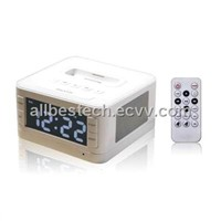 Fashionable iPhone Docking Station with Alarm Clock Radio