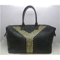 Gold Studed Easy Satchel Handbag in Black Croco Veins Leather 87668