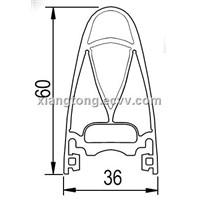 Rubber profile, Rubber tape, Rubber sheath, Rubber profile for safety edge T106