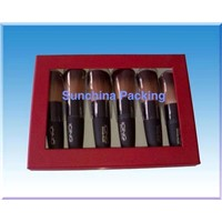 makeup brush kit with PVC for paper cosmetic packaging