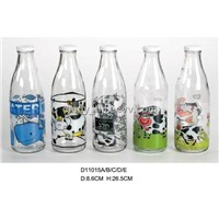 Glass milk bottles with decals