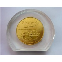 Lucite Embedded Coin/Medal/Medallion