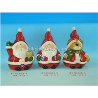 christmas santa candle holder