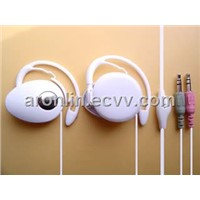 headset earphone  pc earphone white back ear type with mircophone