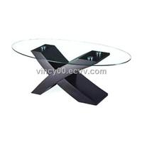 modern glass cross  coffee table