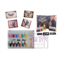 Body Art Temporary Glitter Tattoo Kit with 12 Colors Tattoo Ink