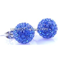 8mm Chinese Crystal Shamballa Earrings Wholesale