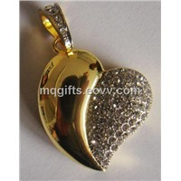 Hot Heart Shaped USB with Diamond Decorative