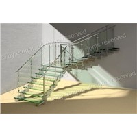 Laminated Glass Stairs, Made of Stainless Steel, Customized Orders are Accepted