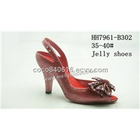 PVC high heel ladies sandals/PVC jelly slippers/shoes