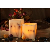 Squar flameless real wax candle