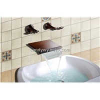 Two Handles Oil Rubbed Wall Mounted Basin Faucet (R-2006R-1)