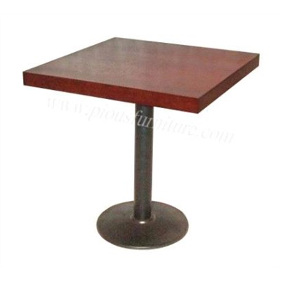 Simple style stainless steel one leg square table for coffee shop or bar pt008 china coffee Tables for coffee shop