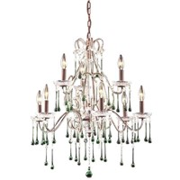 Crystal Chandelier with 9-Light in Antique White and Amber Crystal