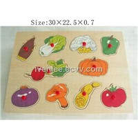 TP110074 Wooden Vegetable Puzzle With Red knob