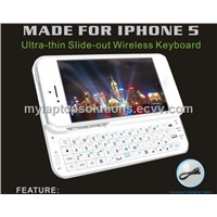 White Wholesale Mobile Phone Wireless Sliding Bluetooth Keyboard Case for iPhone 5