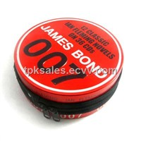 round seamless cd tin case with zipper,round cd tin bag with zipper