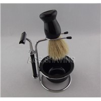 Boar Bristle Hair Shaving Brush Double Blades Razor Plastic bowl Shaving Set