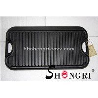 Cast-Iron 2-Burner Reversible Grill / Griddle Cookware, Black