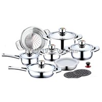 Stainless Steel Cookware Set with Thermo Knob thermometer stainless steel cookware set