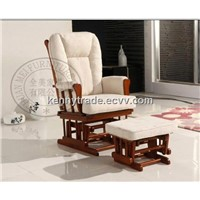 Rubberwood Glider Chair with ottoman