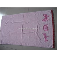 100% cotton jacquard velour beach towel with embroidery